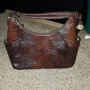 Brahmin hobo purse truffle color Lizard vintage